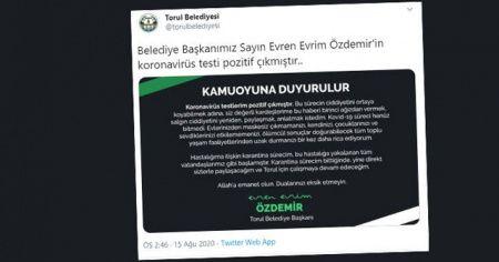 """Torul Belediye Başkanı Özdemir'den """"Koronavirüse yakalandım"""" paylaşımı"""