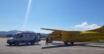 Anjio olan hasta Alman hava ambulans uçağı ile alındı