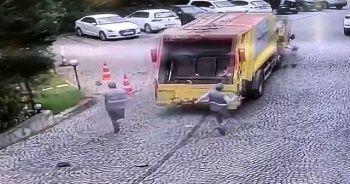 Sarıyer'de çöp kamyonu dehşetinin görüntüleri ortaya çıktı