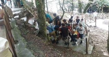 Şelalede fotoğraf çektirmek isteyen sağlıkçı kayalıklardan düştü