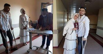 Tedavi gördüğü hastane koridorunda nikahları kıyıldı