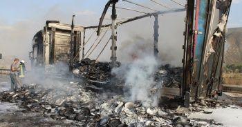 Tır yangını D-100 kara yolunu ulaşıma kapattı