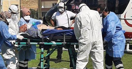 Ambulans helikopter Kovid-19 hastası için havalandı