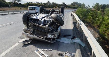 Arnavutköy'de otomobil takla attı