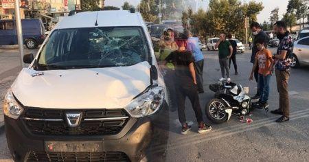 Hafif ticari araç, elektrikli bisiklet ile çarpıştı, 2 kişi yaralandı