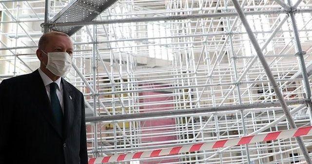 Cumhurbaşkanı Erdoğan AKM ve Taksim Camisi'nde incelemelerde bulundu