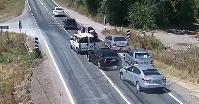 Düğün konvoyundaki kaza kamerada