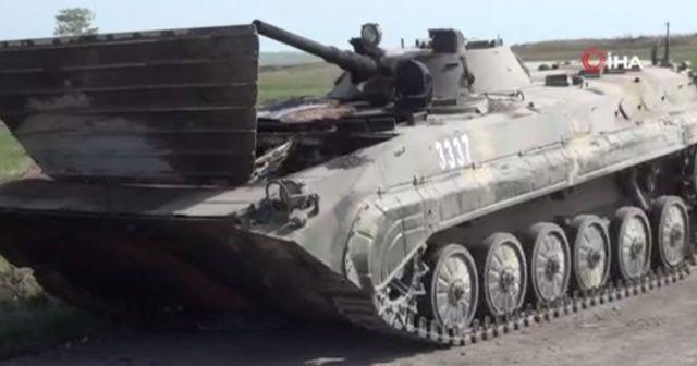 Ermenistan'ın bıraktığı askeri teçhizat görüntülendi