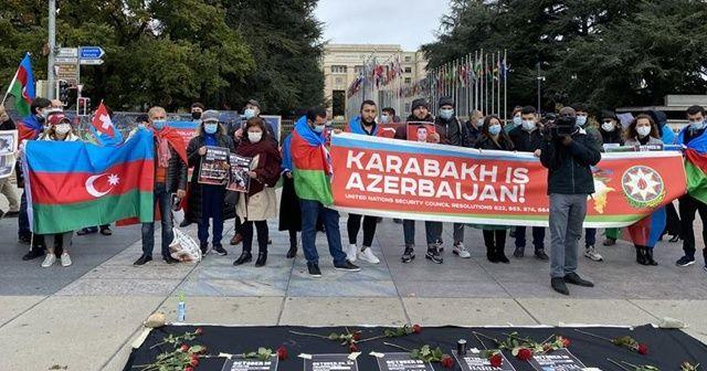 Ermenistan'ın sivillere saldırıları Cenevre'de protesto edildi