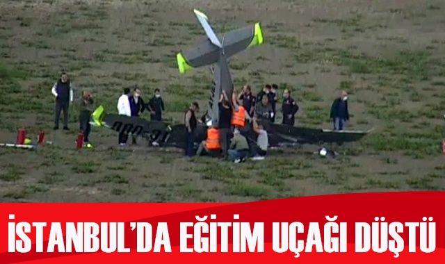 İstanbul Hezarfen Havalimanı'ndan havalanan bir eğitim uçağı düştü