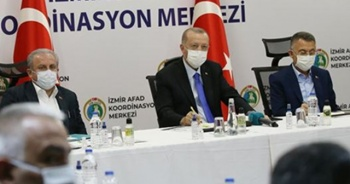 Cumhurbaşkanı Erdoğan, İzmir'de yetkililerden depremle ilgili bilgi aldı