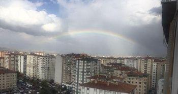 Kayseri'de yağmur sonrasında gökkuşağı oluştu