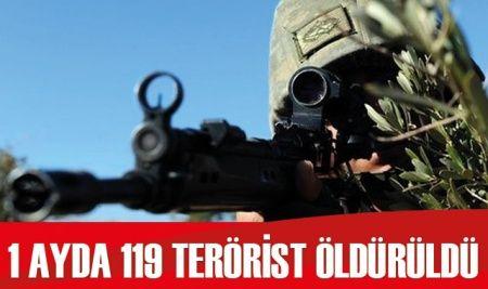 1 ayda 119 terörist öldürüldü