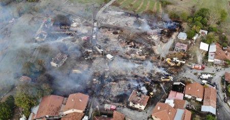 Bolu'daki köy yangınında 42 bina hasar gördü