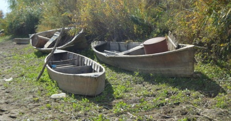 Eber Gölü'nde sular çekilince batık tekneler de gün yüzüne çıktı