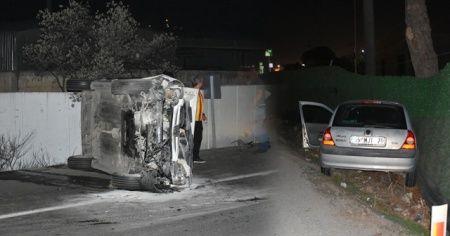 İzmir'de otomobilin devrilmesi sonucu 2 kişi yaralandı
