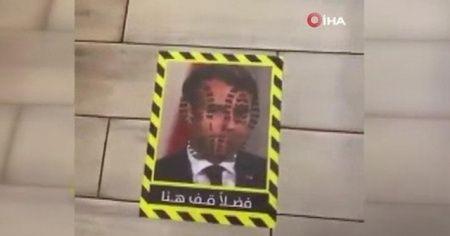 Kuveyt'te bir restoranda Fransa Cumhurbaşkanı Macron'un fotoğrafını yere yapıştırdılar