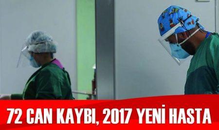 Türkiye'de koronavirüste son durum: 2017 yeni hasta, 72  can kaybı