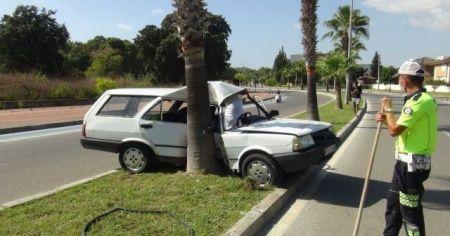 Virajı alamayan ehliyetsiz sürücü palmiyeye çarptı: 1 yaralı