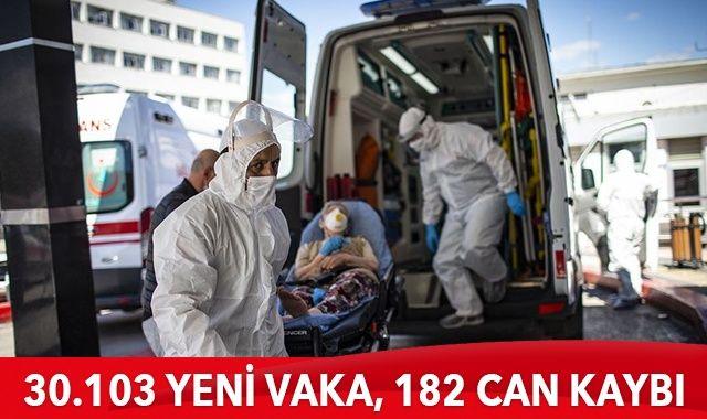 Türkiye'de korıonavirüste son durum: 30.103 yeni vaka, 182 can kaybı