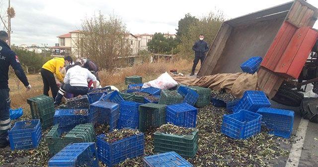 Zeytin işçilerini taşıyan traktör devrildi