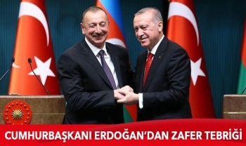 Cumhurbaşkanı Erdoğan, Azerbaycan Cumhurbaşkanı Aliyev'i kutladı