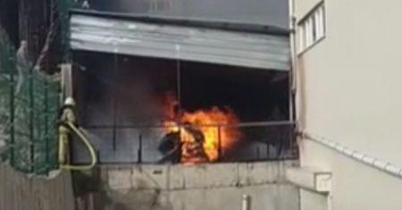 Arnavutköy'de ayakkabı fabrikasında yangın çıktı