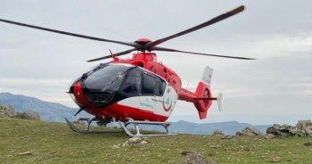 Dağlık alanda yaralanan kadının imdadına hava ambulansı yetişti