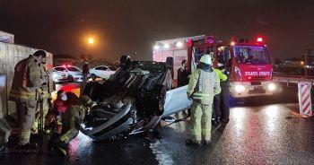 Kaza yapan alkollü sürücünün 3 çocuğu ve eşi yaralandı