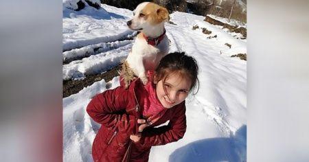 8 yaşındaki Cemre köpeğini veterinere sırtında götürdü