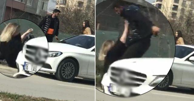Kız arkadaşa şiddet kamerada