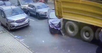 İstanbul'da hafriyat kamyonu dehşeti kamerada