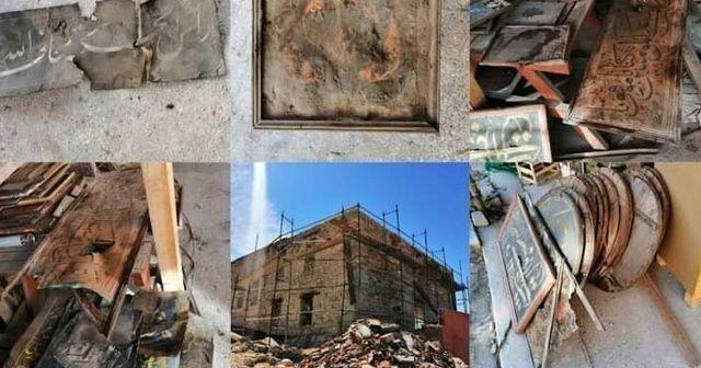 Cami restorasyonunda çatıdan çıkan 50 adet hat levha sokağa atıldı
