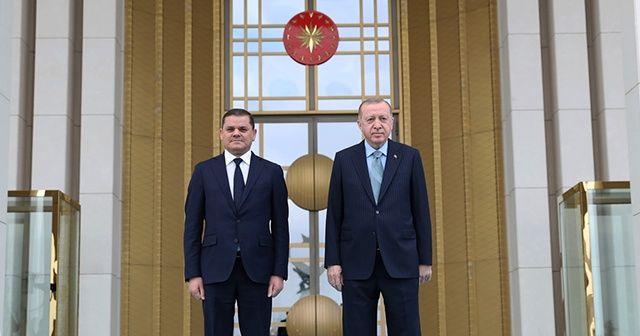 Cumhurbaşkanı Erdoğan Libya Başbakanı Dibeybe'yi resmi törenle karşıladı