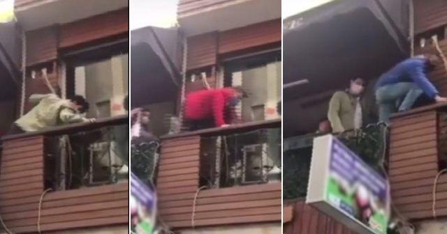 Polise yakalanmamak için balkondan kaçtılar