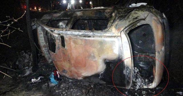 Sürücünün yanarak öldüğü araçtan uyuşturucu çıktı