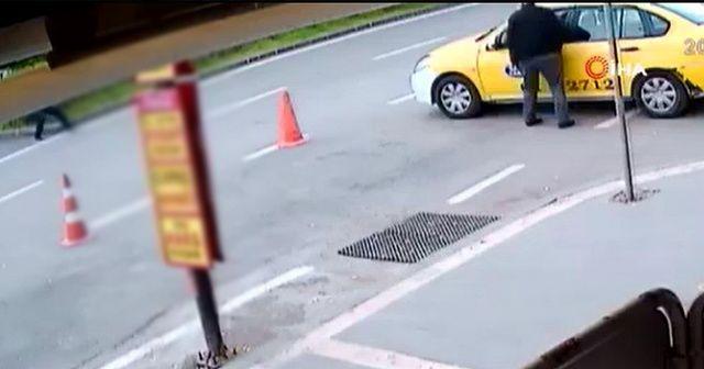 Taksicinin vurulma anı kamerada