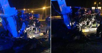İki kamyon çarpıştı: 1 ölü, 2 yaralı