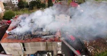 Sarıyer'de bulunan 4 katı binada yangın