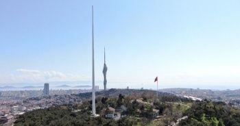 Türkiye'nin en uzun bayrak direği havadan görüntülendi