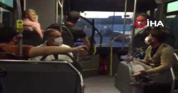 Metrobüste bacak bacak üstüne atma kavgası
