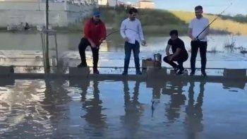 Göle dönen yolları tiye aldılar, balık tutup mangal yaktılar