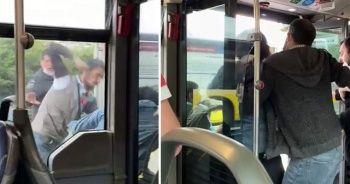 Metrobüste tekme tokat kavga