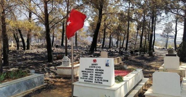 Çıkan yangında şehidimizin mezarı ve bayrağımız sapasağlam ayakta kaldı
