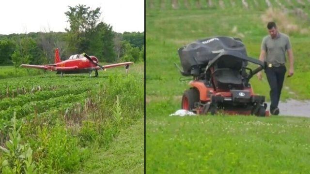 Kanada'da eğitim uçağı iniş esnasında çim biçen kadına çarptı