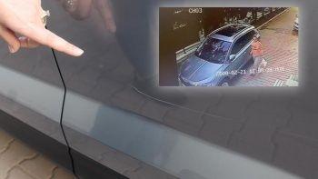 Arabadaki çizikleri gördü, kamera kaydına bakınca şoke oldu
