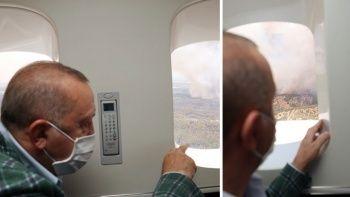Cumhurbaşkanı Erdoğan, yangın bölgesine gitti
