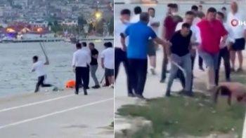 Garsonlar denize girenlere böyle saldırdı