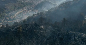 Marmaris yangın sonrası havadan görüntülendi