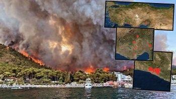 Türkiye'deki yangınların uydu görüntüleri! Nasa paylaştı